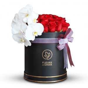 Red Rose with phalaenopsis White in Black Box