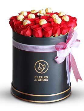 Gold and Red Rose with Chocolate