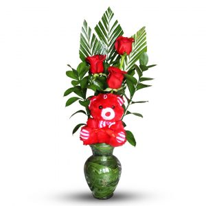 Small Red Rose Bouquet with Teddy