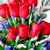 Red Roses with Gentian Flowers Zoom 2